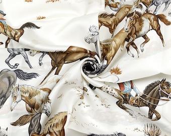 "HERMES SCARF Silk ""Les Mustangs"" by Robert Dallet Vintage 90cm Carre 100% Auth"