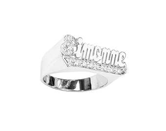 SNS116czM 10mm Silver Script Letter Accented w/ 12 Cubic Zirconia Name Ring