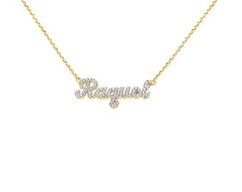 NP01d-10K Gold Bold Script Letter Name Necklace with Diamond