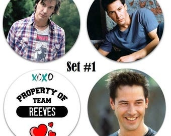 """Set of 4 Keanu Reeves 2.25"""" Pinback Buttons or Magnets - Choose Your Favorite Set"""