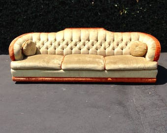 SOLD Mid Century Hollywood Regency Curved Tufted Low Profile Light Green  And Orange Velvet Sofa,