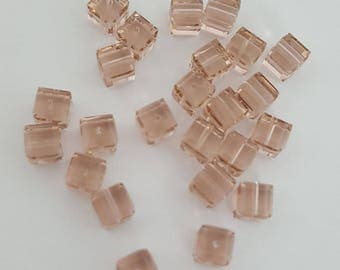 Swarovski 6mm Faceted Crystal Cube (5601) Bead - VINTAGE ROSE - Select 6 or 12 Beads