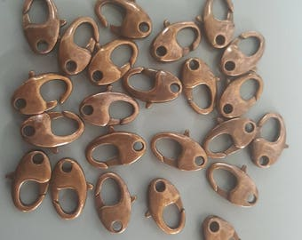 Copper Lobster Claw Clasps, Good Quality, 11x7x3mm