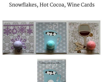 Winter EOS Lip Balm Cards Pack • Wine Card • Hot Cocoa Gift • Snowflake EOS Lip Balm Holder • Gifts for Her • Hostess Gift • Wine Lover