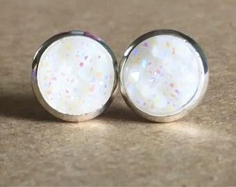 8mm White Druzy Earrings, White Druzy Stud Earrings, Faux Druzy Earrings