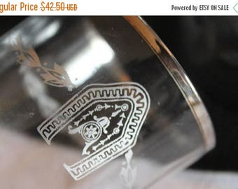 SALE Set of 6 Antique Clear Glass Tumblers with Medallions and Laurel Etching and Sterling Silver Rims - Drinking Glasses