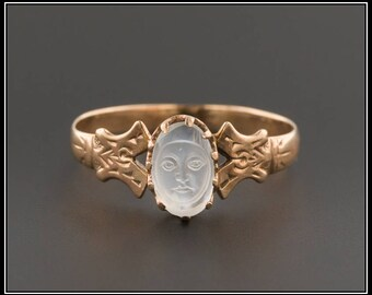 Antique Man In The Moon Ring | Antique Carved Moonstone Ring | 10k Rose Gold Ring | Moonstone Ring | Victorian Moonstone Ring |