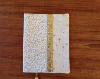 handmade book cover, fabric book cover, book accessories, gift, book cover, patchwork book cover, GOLD DUST