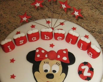 Minnie mouse plaque. Stars. Cubes and Number.