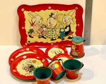 Vintage Tin Litho Tea Set, Ohio Art,  Bunny Rabbit Dishes, Easter Display, Fern Bisel Peat, 10 pieces, Large Tray, Pitcher with Lid, 1940s