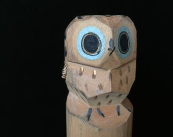 owl hand carved wood vintage owl Japanese signed handmade carved wood figurine art originals New Canaan Conn