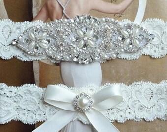 ON SALE Sale Wedding Garters Ivory Lace Keepsake Toss Bridal Garter Set