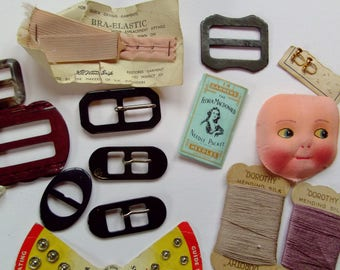vintage  needles flora macdonald darners buckles linen doll face dorothy  mending silk  newey snap fasteners collector bundle