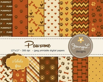 50% OFF Pet Digital Paper, Dog Digital papers, Paws Scrapbooking Papers, Cat Digi Papers, Dog Bones, I Love Dogs, Animal Digital Papers, Pup