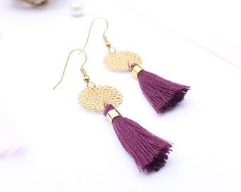Earrings PomPoms / purple and gold earrings / earrings ethhniques / earrings ethnic PomPoms