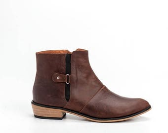 Brown Leather Booties / Women Leather Shoes / Casual Leather Boots / Winter Shoes / Designers Leather Shoes / Wood Heels Shoes - Jerry