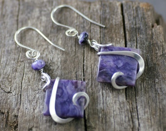 Charoite Cold Forged Sterling Silver earrings