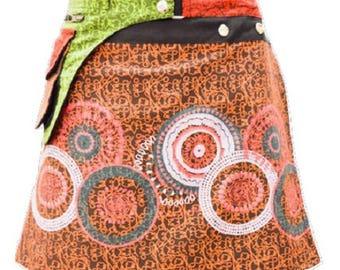 Reversible Hippie Patchwork Abstract Floral Detachable Pocket Wrap Skirt Orange Multi