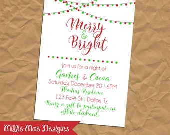 Red and Green Merry and Bright Christmas Invitation - Holiday Invitation