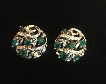 Emerald Green Clip On Earrings