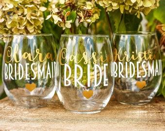 Bridesmaid wine glasses