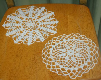 Hand Crafted DOILY - Lot of 2 -  White Hand Crocheted Doily