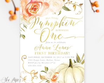 Fall Birthday Invitation, Our Little Pumpkin is Turning One, First Birthday Party Invite, Any Age Orange Rose, Printed or Printable - Fall 3