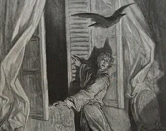 1884 The Raven By Edgar Allen Poe Original Gustave Dore #DorePoe2