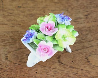 Vintage Royal Albert English bone china wheelbarrow flower posy ornament