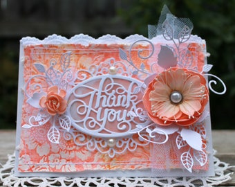 Thank you handmade card, OOAK card, Persimmon and White Flower Card