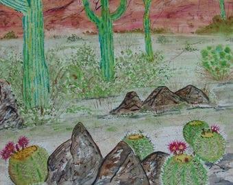 Watercolor Painting, Original Watercolor, Desert Watercolor, Desert Painting, Original Watercolor Desert Painting