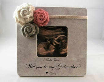 Godmother proposal gifts, Will you be my Godmother gift personalized picture frame Godparents to be