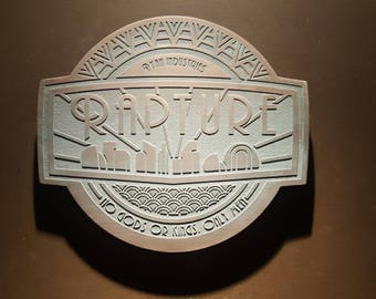 Bioshock Rapture inspired plaque with aged finish