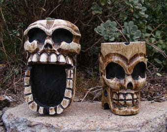 Skull Skeleton Ashtray Wood Carving Statue Pirate Man Cave Tiki Bar Day of the Day Set of 2