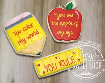 Teacher Appreciation Cookies - Back to School Cookies - Teacher Cookies - Teacher Gifts