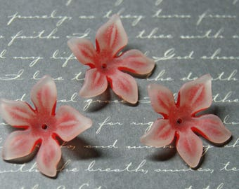 3 large red and white lucite flowers rubbed 8x29mm