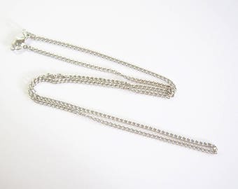 Chain ready to be used in silver rhodium plated 62cm