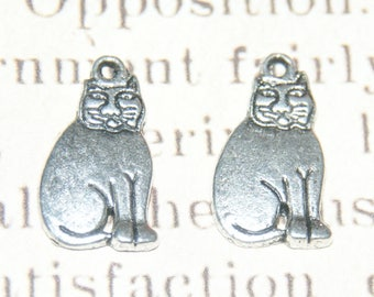 2 silver 19x11mm plump cat charms