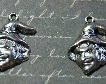 2 witch Hat silver charm