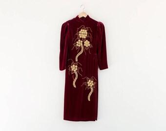 80s All That Glitters Ao Dai / Velvet Vietnamese Dress / Extra Small-Small