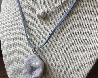 Lavender Druzy Stone Choker Double-Strand Necklace on Suede Chain