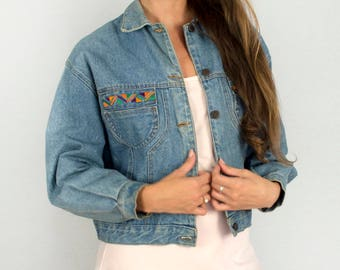 Vintage 1980s Embroidered Aztec Detail Classic Denim Jean Jacket 100% Cotton - Small