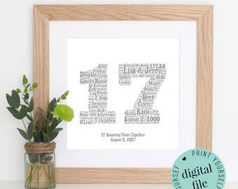 17th ANNIVERSARY GIFT - Word Art - Printable Gift - 17 Year Anniversary - 17th Wedding Anniversary - Word Art Gifts - Personalised Gifts