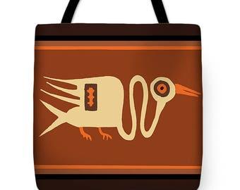 Peruvian Crane Desig Tote Bag Gift - Peruvian Crane Tribal Design SilkyPoly Throw Pillow - Laptop Bag - ReUsable Shopping Grocery  Bag