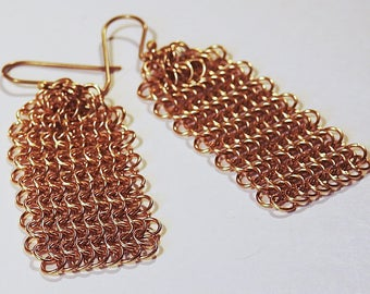 Vintage Jewelry Bohemian Gold Plated Chain mail Earrings