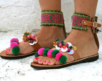 Boho sandal-Indish shoes Karpathos-pom pom Sandal-Best sandals
