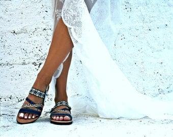 Blue leather sandal-decorated sandal- Chios-Greek leather sandal-Boho sandals