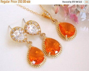 SALE Bridesmaid Jewelry, Orange Earrings and Necklace Set,Tangerine,Carnelian,Gold Filled,Wedding Jewelry, Dangle, Gift, Pendant Set,Brides