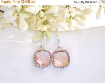 SALE Wedding Jewelry, Peach Earrings, Champagne, Blush,Silver,Bridesmaid Jewelry,Small Earrings, Dangle, Bridesmaids Gifts, Wedding Gifts, D