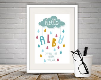 Personalised 'Hello' Baby Print